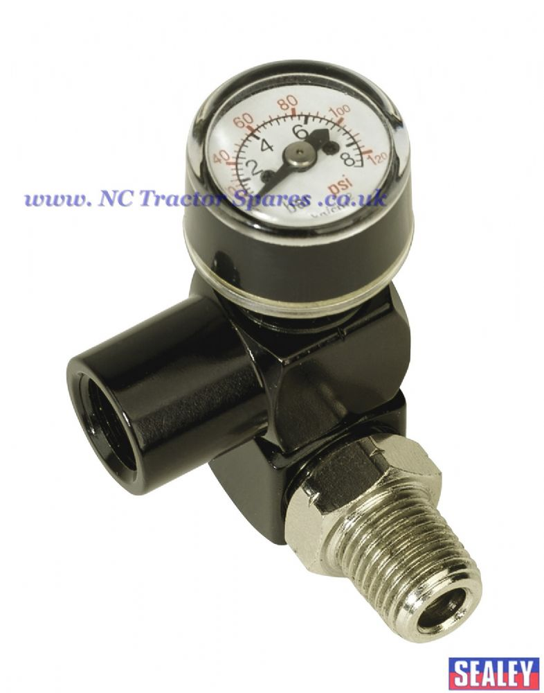 "Z-Swivel Air Hose Connector with Pressure Gauge 1/4""BSP"